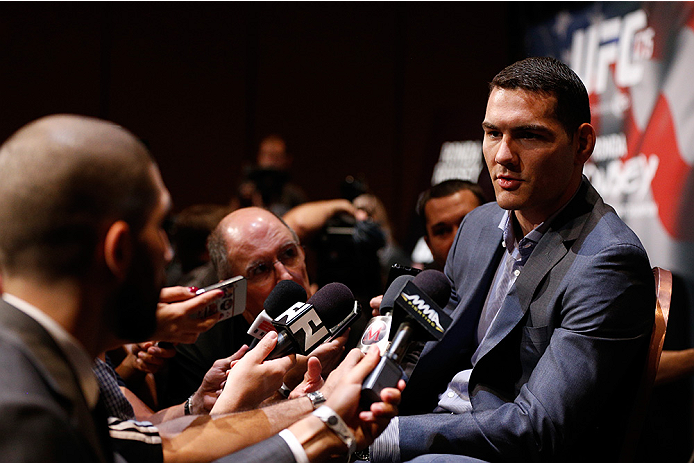 LAS VEGAS, NV - JULY 03:  UFC middleweight champion Chris Weidman interacts with media during the UFC Ultimate Media Day at the Mandalay Bay Resort and Casino on July 3, 2014 in Las Vegas, Nevada.  (Photo by Josh Hedges/Zuffa LLC/Zuffa LLC via Getty Images)