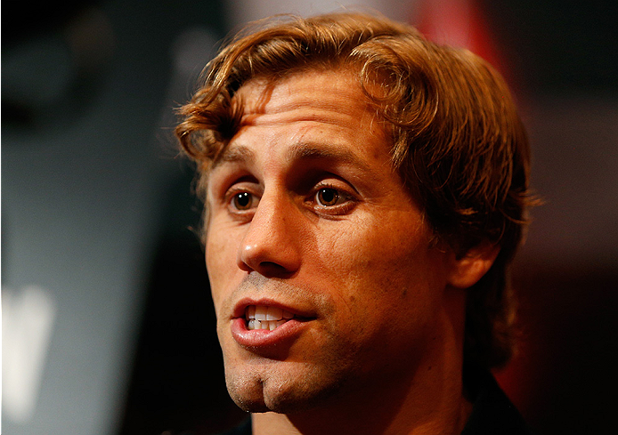 LAS VEGAS, NV - JULY 03:  Urijah Faber interacts with media during the UFC Ultimate Media Day at the Mandalay Bay Resort and Casino on July 3, 2014 in Las Vegas, Nevada.  (Photo by Josh Hedges/Zuffa LLC/Zuffa LLC via Getty Images)