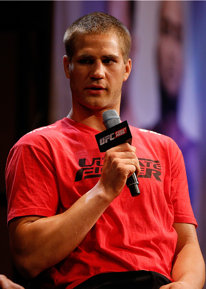 LAS VEGAS, NV - JULY 03:  Matt Van Buren interacts with fans during the UFC Ultimate Media Day at the Mandalay Bay Resort and Casino on July 3, 2014 in Las Vegas, Nevada.  (Photo by Josh Hedges/Zuffa LLC/Zuffa LLC via Getty Images)