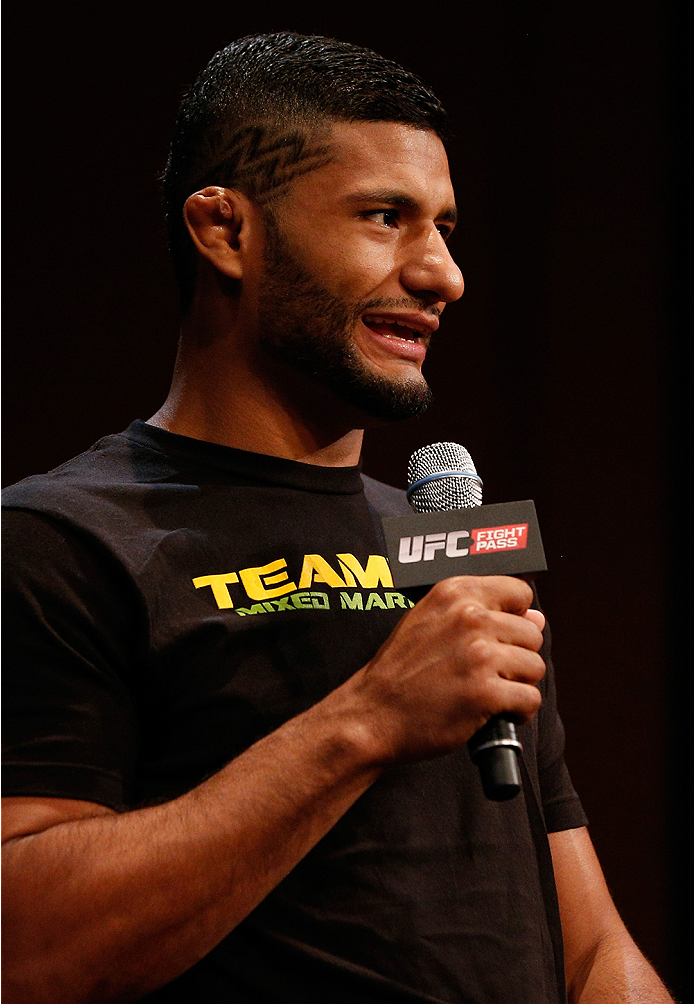 LAS VEGAS, NV - JULY 03:  Dhiego Lima interacts with fans during the UFC Ultimate Media Day at the Mandalay Bay Resort and Casino on July 3, 2014 in Las Vegas, Nevada.  (Photo by Josh Hedges/Zuffa LLC/Zuffa LLC via Getty Images)