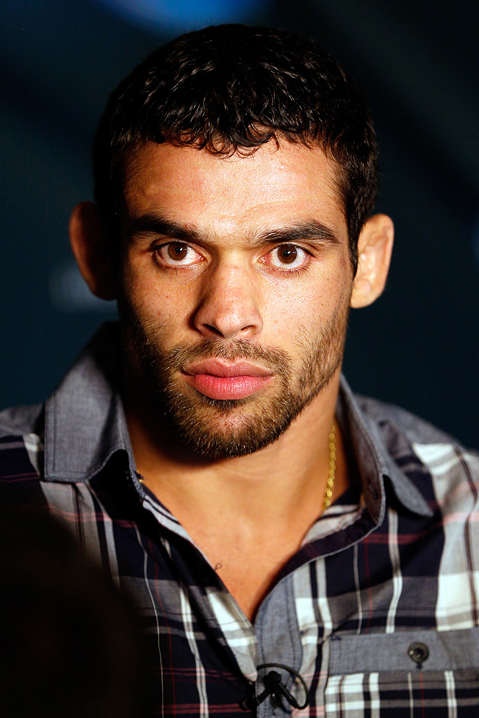SACRAMENTO, CA - AUGUST 28:  Former UFC bantamweight champion Renan Barao of Brazil interacts with media during the UFC 177 Ultimate Media Day at the Sleep Train Arena on August 28, 2014 in Sacramento, California. (Photo by Josh Hedges/Zuffa LLC/Zuffa LLC via Getty Images)