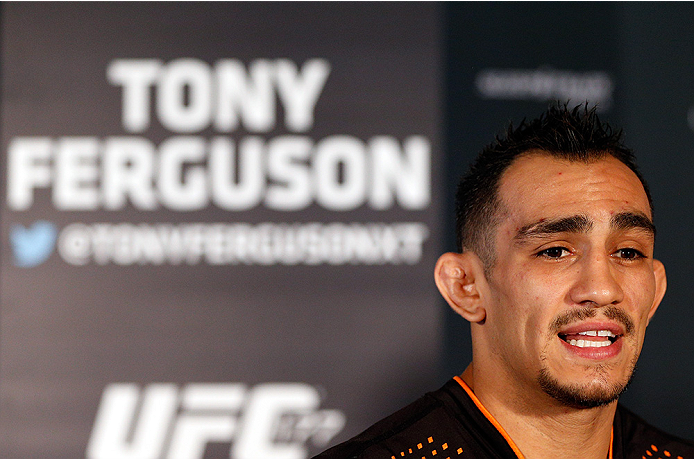 SACRAMENTO, CA - AUGUST 28:  Tony Ferguson interacts with media during the UFC 177 Ultimate Media Day at the Sleep Train Arena on August 28, 2014 in Sacramento, California. (Photo by Josh Hedges/Zuffa LLC/Zuffa LLC via Getty Images)