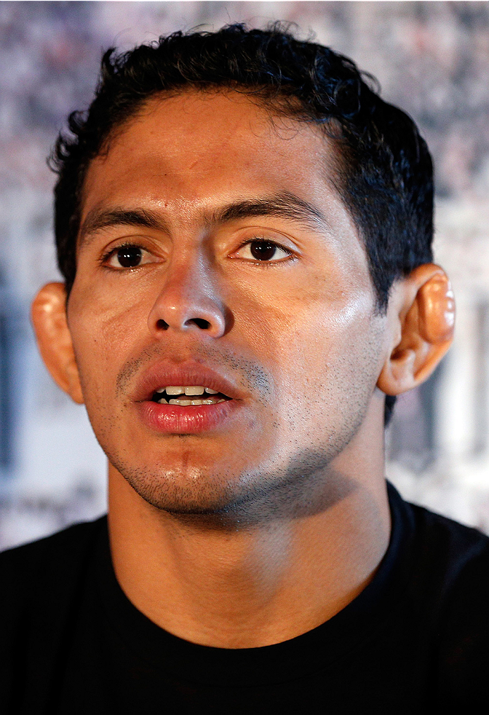 SACRAMENTO, CA - AUGUST 28:  Diego Ferreira interacts with media during the UFC 177 Ultimate Media Day at the Sleep Train Arena on August 28, 2014 in Sacramento, California. (Photo by Josh Hedges/Zuffa LLC/Zuffa LLC via Getty Images)