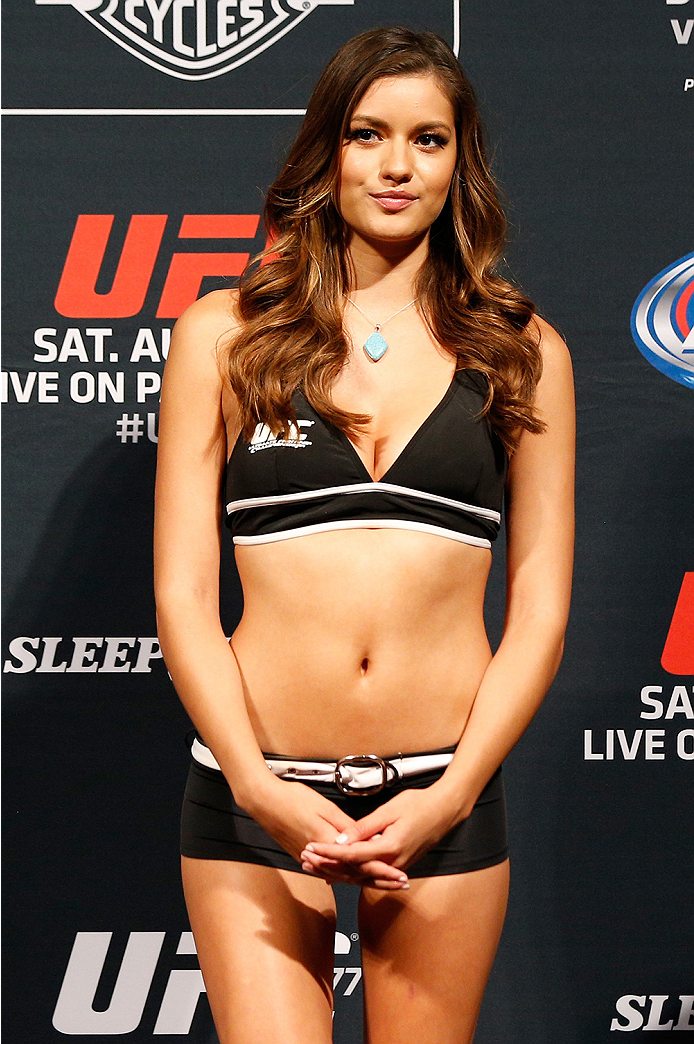 SACRAMENTO, CA - AUGUST 29:  UFC Octagon Girl Vanessa Hanson stands on stage during the UFC 177 weigh-in at Sleep Train Arena on August 29, 2014 in Sacramento, California.  (Photo by Josh Hedges/Zuffa LLC/Zuffa LLC via Getty Images)