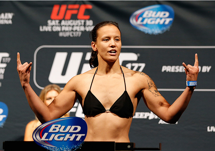 SACRAMENTO, CA - AUGUST 29:  Shayna Baszler weighs in during the UFC 177 weigh-in at Sleep Train Arena on August 29, 2014 in Sacramento, California.  (Photo by Josh Hedges/Zuffa LLC/Zuffa LLC via Getty Images)