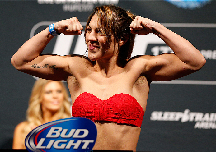 SACRAMENTO, CA - AUGUST 29:  Bethe Correia of Brazil weighs in during the UFC 177 weigh-in at Sleep Train Arena on August 29, 2014 in Sacramento, California.  (Photo by Josh Hedges/Zuffa LLC/Zuffa LLC via Getty Images)