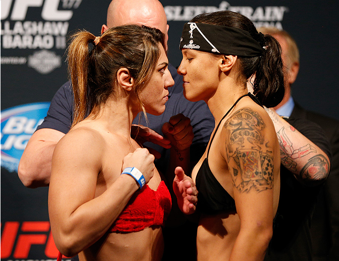SACRAMENTO, CA - AUGUST 29:  (L-R) Opponents Bethe Correia of Brazil and Shayna Baszler face off during the UFC 177 weigh-in at Sleep Train Arena on August 29, 2014 in Sacramento, California.  (Photo by Josh Hedges/Zuffa LLC/Zuffa LLC via Getty Images)