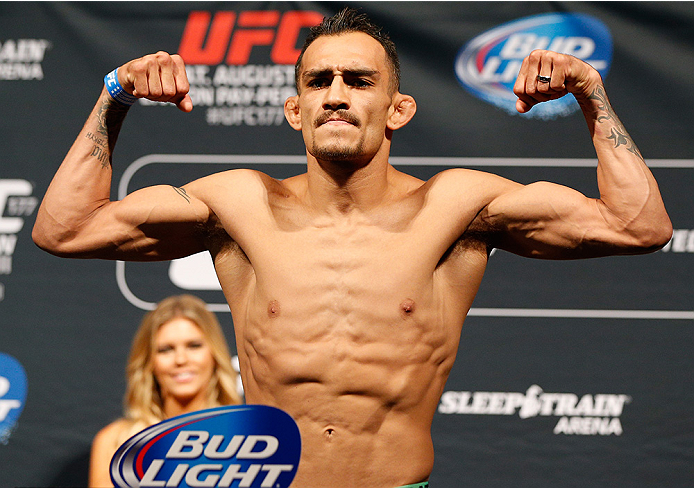 SACRAMENTO, CA - AUGUST 29:  Tony Ferguson weighs in during the UFC 177 weigh-in at Sleep Train Arena on August 29, 2014 in Sacramento, California.  (Photo by Josh Hedges/Zuffa LLC/Zuffa LLC via Getty Images)