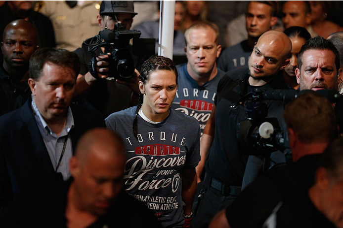 LAS VEGAS, NV - SEPTEMBER 27:  Cat Zingano enters the arena for her fight with Amanda Nunes before their women's bantamweight fight during the UFC 178 event inside the MGM Grand Garden Arena on September 27, 2014 in Las Vegas, Nevada.  (Photo by Josh Hedges/Zuffa LLC/Zuffa LLC via Getty Images)