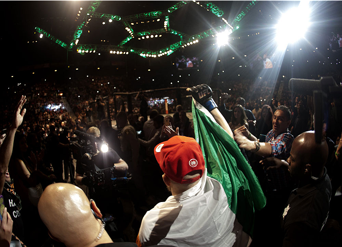 LAS VEGAS, NV - SEPTEMBER 27:  Conor McGregor prepares to enter the Octagon before his fight against Dustin Poirier during the UFC 178 event inside the MGM Grand Garden Arena on September 27, 2014 in Las Vegas, Nevada. (Photo by Brandon Magnus/Zuffa LLC/Zuffa LLC via Getty Images)