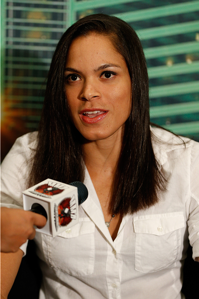 LAS VEGAS, NV - SEPTEMBER 25:  Amanda Nunes of Brazil interacts with media during the UFC 178 Ultimate Media Day at the MGM Grand Hotel/Casino on September 25, 2014 in Las Vegas, Nevada. (Photo by Josh Hedges/Zuffa LLC/Zuffa LLC via Getty Images)