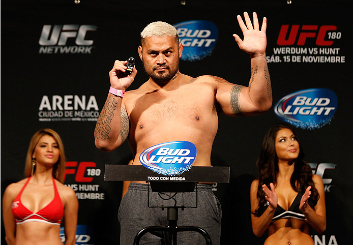 MEXICO CITY, MEXICO - NOVEMBER 14: Mark Hunt of New Zealand weighs in during the UFC 180 weigh-in inside the Arena Ciudad de Mexcio on November 14, 2014 in Mexico City, Mexico. (Photo by Josh Hedges/Zuffa LLC/Zuffa LLC via Getty Images)