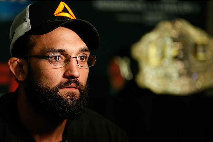 LAS VEGAS - DECEMBER 04:  UFC welterweight champion Johny Hendricks interacts with media during the UFC 181 Ultimate Media Day at the MGM Grand Hotel/Casino on December 4, 2014 in Las Vegas, Nevada. (Photo by Josh Hedges/Zuffa LLC/Zuffa LLC via Getty Images)