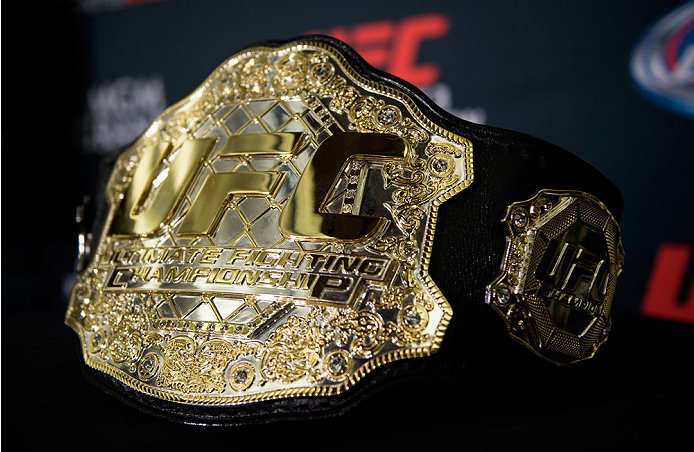 LAS VEGAS, NEVADA - JANUARY 01:  A general view of the UFC championship belt during the UFC 182 Media Day at the MGM Grand Hotel and Casino on January 1, 2015 in Las Vegas, Nevada. (Photo by Brandon Magnus/Zuffa LLC/Zuffa LLC via Getty Images)