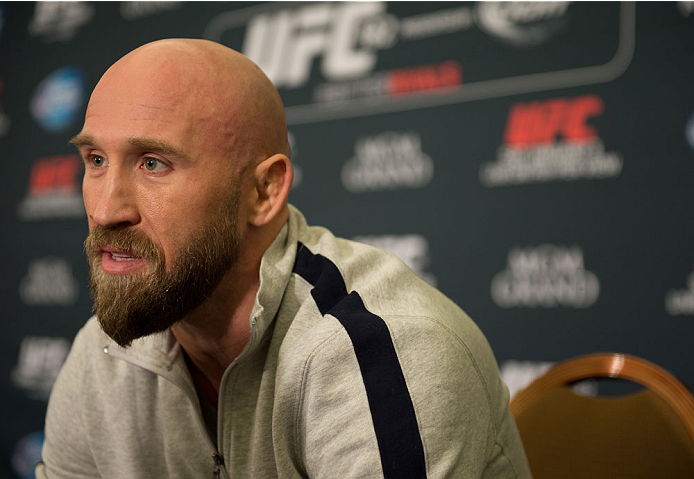 LAS VEGAS, NEVADA - JANUARY 01:  Josh Burkman speaks to the media during the UFC 182 Media Day at the MGM Grand Hotel and Casino on January 1, 2015 in Las Vegas, Nevada. (Photo by Brandon Magnus/Zuffa LLC/Zuffa LLC via Getty Images)