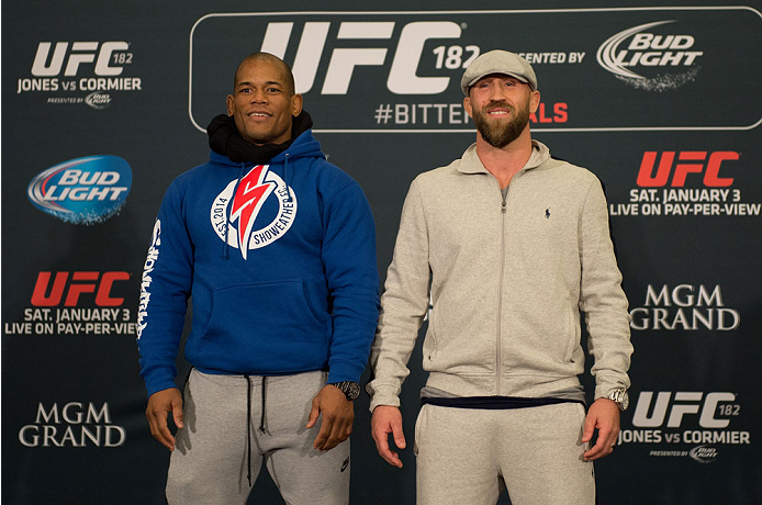 LAS VEGAS, NEVADA - JANUARY 01:  (L-R) Hector Lombard and Josh Burkman face off during the UFC 182 Media Day at the MGM Grand Hotel and Casino on January 1, 2015 in Las Vegas, Nevada. (Photo by Brandon Magnus/Zuffa LLC/Zuffa LLC via Getty Images)