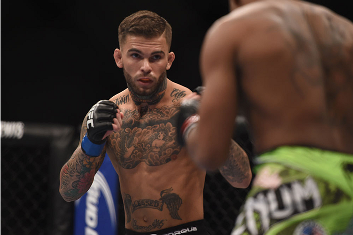 (L) Cody Garbrandt squares off with Marcus Brimage in their bantamweight bout during the UFC 182 event at the MGM Grand Garden Arena on January 3, 2015 in Las Vegas, NV. (Photo by Jeff Bottari/Zuffa LLC/Zuffa LLC)