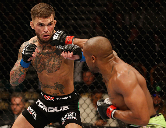 Cody Garbrandt and Marcus Brimage exchange punches in their bantamweight bout during the UFC 182 event at the MGM Grand Garden Arena on January 3, 2015 in Las Vegas, NV. (Photo by Josh Hedges/Zuffa LLC)