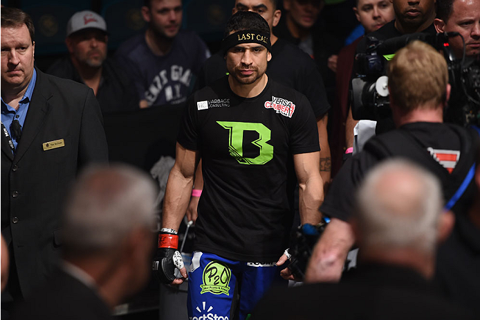 LAS VEGAS, NV - JANUARY 03:  Danny Castillo enters the arena for his lightweight bout against Paul Felder during the UFC 182 event at the MGM Grand Garden Arena on January 3, 2015 in Las Vegas, Nevada.  (Photo by Jeff Bottari/Zuffa LLC/Zuffa LLC via Getty Images)