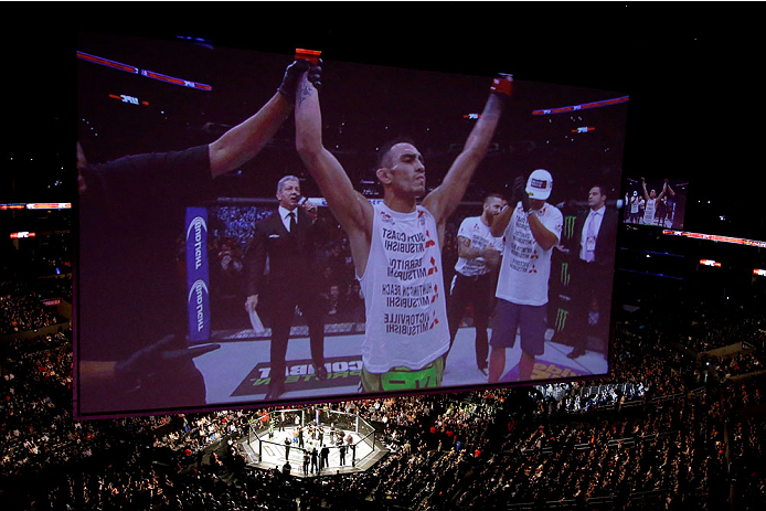 LOS ANGELES, CA - FEBRUARY 28:  Tony Ferguson celebrates after defeating Gleison Tibau in their lightweight bout during the UFC 184 event at Staples Center on February 28, 2015 in Los Angeles, California.  (Photo by Jeff Gross/Zuffa LLC/Zuffa LLC via Getty Images)