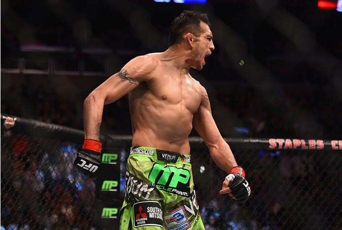 LOS ANGELES, CA - FEBRUARY 28:  Tony Ferguson celebrates after defeating Gleison Tibau in their lightweight bout during the UFC 184 event at Staples Center on February 28, 2015 in Los Angeles, California.  (Photo by Jeff Bottari/Zuffa LLC/Zuffa LLC via Getty Images)