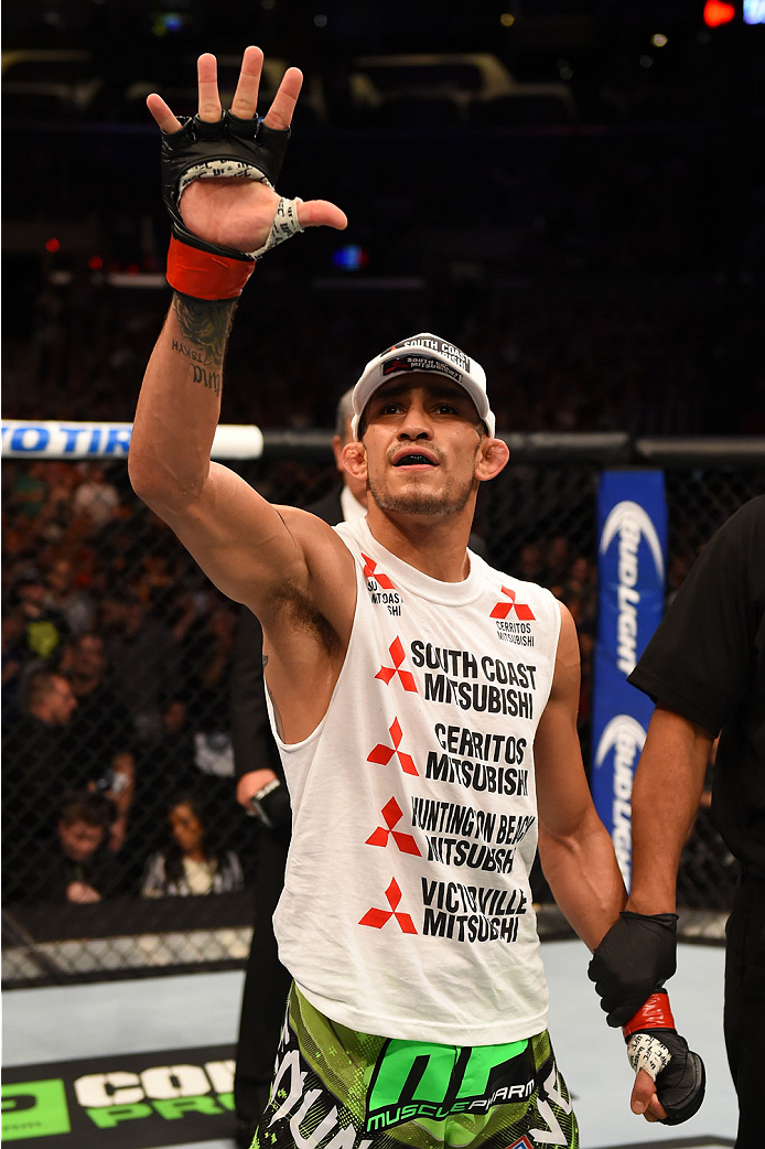 LOS ANGELES, CA - FEBRUARY 28:  Tony Ferguson celebrates after defeating Gleison Tibau in their lightweight bout during the UFC 184 event at Staples Center on February 28, 2015 in Los Angeles, California.  (Photo by Josh Hedges/Zuffa LLC/Zuffa LLC via Getty Images)