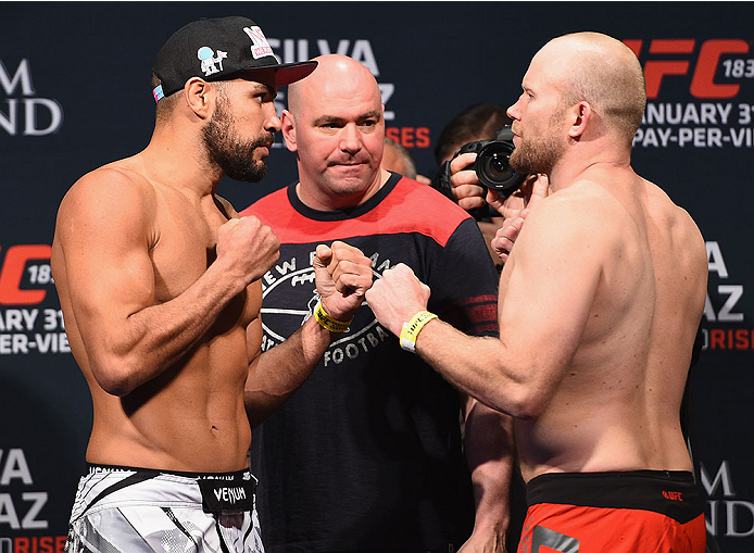 LAS VEGAS, NV - JANUARY 30:  (L-R) Thales Leites and Tim Boetsch face off during the UFC 183 weigh-in at the MGM Grand Garden Arena on January 30, 2015 in Las Vegas, Nevada.  (Photo by Josh Hedges/Zuffa LLC/Zuffa LLC via Getty Images)