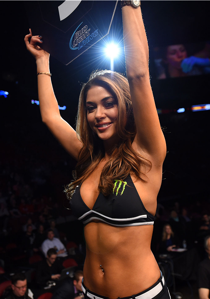 MONTREAL, QC - APRIL 25:  UFC Octagon Girl Arianny Celeste introduces a round during the UFC 186 event at the Bell Centre on April 25, 2015 in Montreal, Quebec, Canada. (Photo by Josh Hedges/Zuffa LLC/Zuffa LLC via Getty Images)