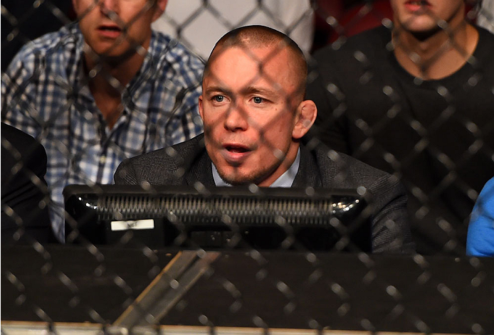 MONTREAL, QC - APRIL 25:   Former UFC welterweight champion Georges St-Pierre looks on during the UFC 186 event at the Bell Centre on April 25, 2015 in Montreal, Quebec, Canada. (Photo by Josh Hedges/Zuffa LLC/Zuffa LLC via Getty Images)