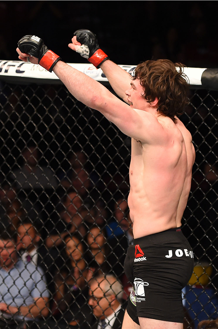 MONTREAL, QC - APRIL 25:   Olivier Aubin-Mercier of Canada reacts after his submission victory over David Michaud of the United States in their lightweight bout during the UFC 186 event at the Bell Centre on April 25, 2015 in Montreal, Quebec, Canada. (Photo by Josh Hedges/Zuffa LLC/Zuffa LLC via Getty Images)