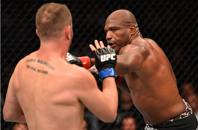 MONTREAL, QC - APRIL 25:   (R-L) Quinton 'Rampage' Jackson of the United States punches Fabio Maldonado of Brazil in their catchweight bout during the UFC 186 event at the Bell Centre on April 25, 2015 in Montreal, Quebec, Canada. (Photo by Josh Hedges/Zuffa LLC/Zuffa LLC via Getty Images)