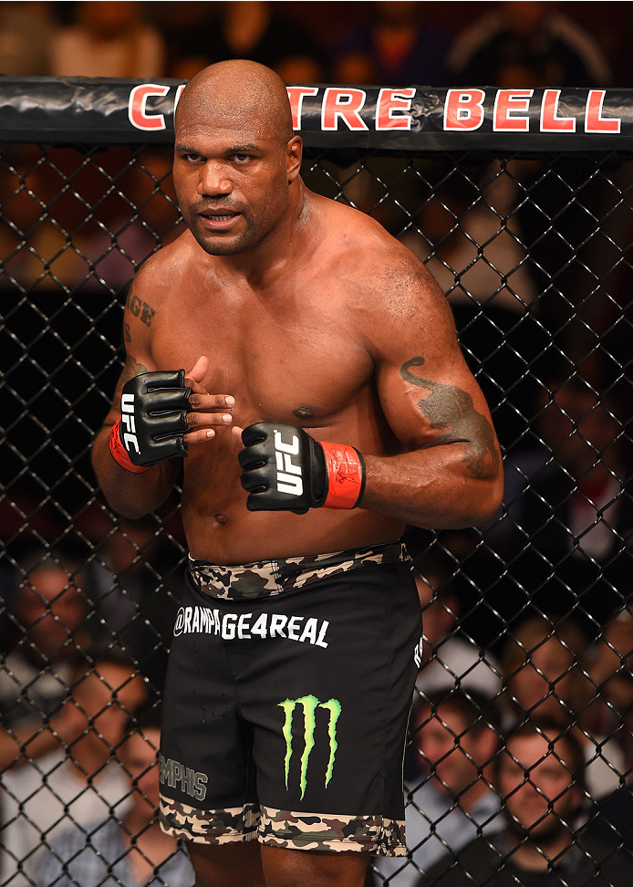 MONTREAL, QC - APRIL 25:   Quinton 'Rampage' Jackson of the United States stands in the Octagon between rounds of his catchweight bout against Fabio Maldonado during the UFC 186 event at the Bell Centre on April 25, 2015 in Montreal, Quebec, Canada. (Photo by Josh Hedges/Zuffa LLC/Zuffa LLC via Getty Images)
