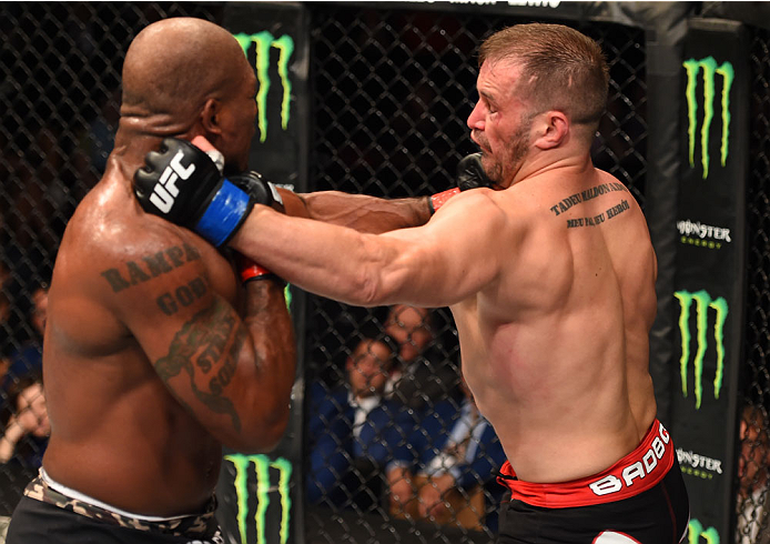 MONTREAL, QC - APRIL 25:   (L-R) Quinton 'Rampage' Jackson of the United States punches Fabio Maldonado of Brazil in their catchweight bout during the UFC 186 event at the Bell Centre on April 25, 2015 in Montreal, Quebec, Canada. (Photo by Josh Hedges/Zuffa LLC/Zuffa LLC via Getty Images)