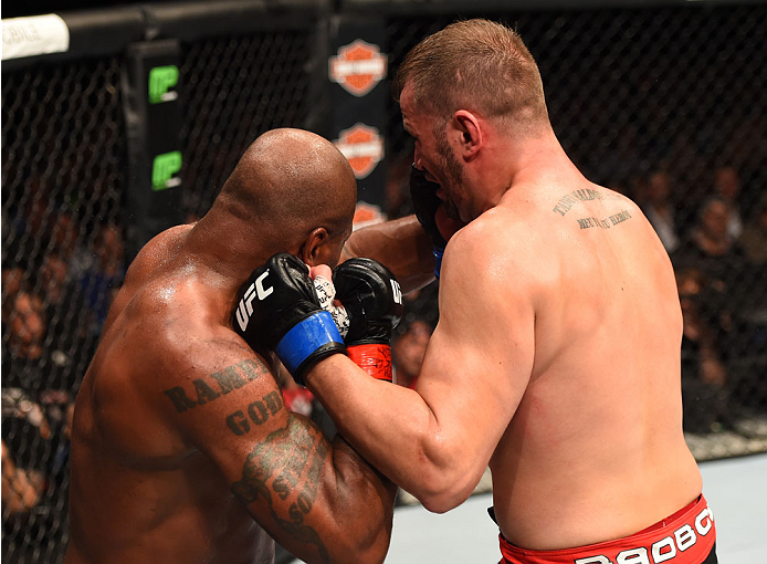 MONTREAL, QC - APRIL 25:   (R-L) Fabio Maldonado of Brazil punches Quinton 'Rampage' Jackson of the United States in their catchweight bout during the UFC 186 event at the Bell Centre on April 25, 2015 in Montreal, Quebec, Canada. (Photo by Josh Hedges/Zuffa LLC/Zuffa LLC via Getty Images)