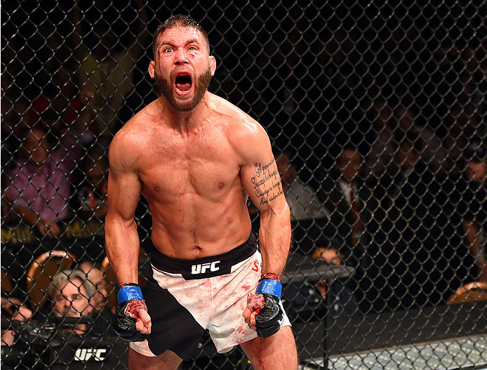 Jeremy Stephens reacts to his victory over <a href='../fighter/Dennis-Bermudez'>Dennis Bermudez</a> in their featherweight fight during the UFC 189 event inside MGM Grand Garden Arena on July 11, 2015 in Las Vegas, Nevada. (Photo by Josh Hedges/Zuffa LLC)