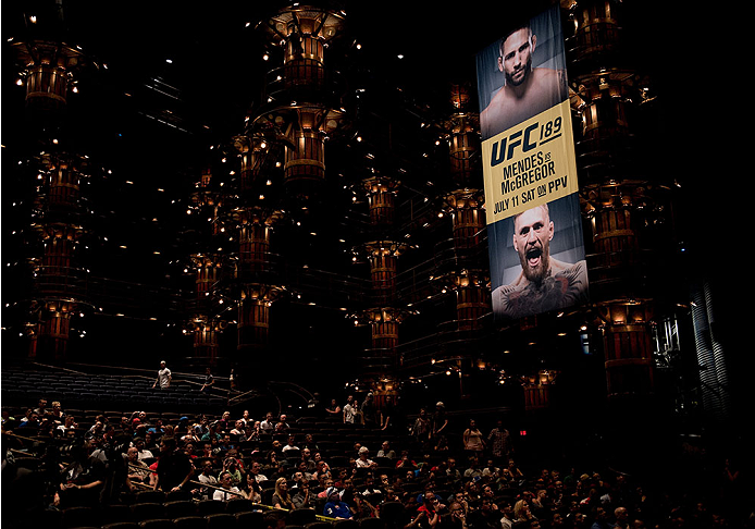 LAS VEGAS, NEVADA - JULY 8:   A general view of the UFC 189 & TUF Finale Press Conference at MGM Grand Hotel & Casino on July 8, 2015 in Las Vegas Nevada. (Photo by Brandon Magnus/Zuffa LLC/Zuffa LLC via Getty Images)