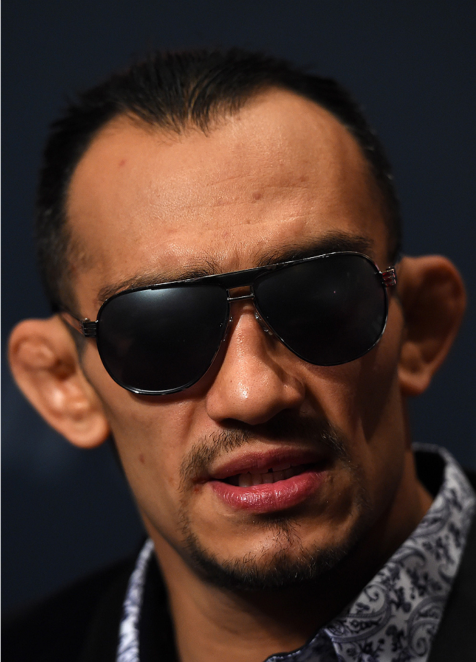 LAS VEGAS, NV - DECEMBER 09:  Tony Ferguson interacts with media during the UFC Ultimate Media Day at MGM Grand Hotel & Casino on December 9, 2015 in Las Vegas, Nevada.  (Photo by Josh Hedges/Zuffa LLC/Zuffa LLC via Getty Images)