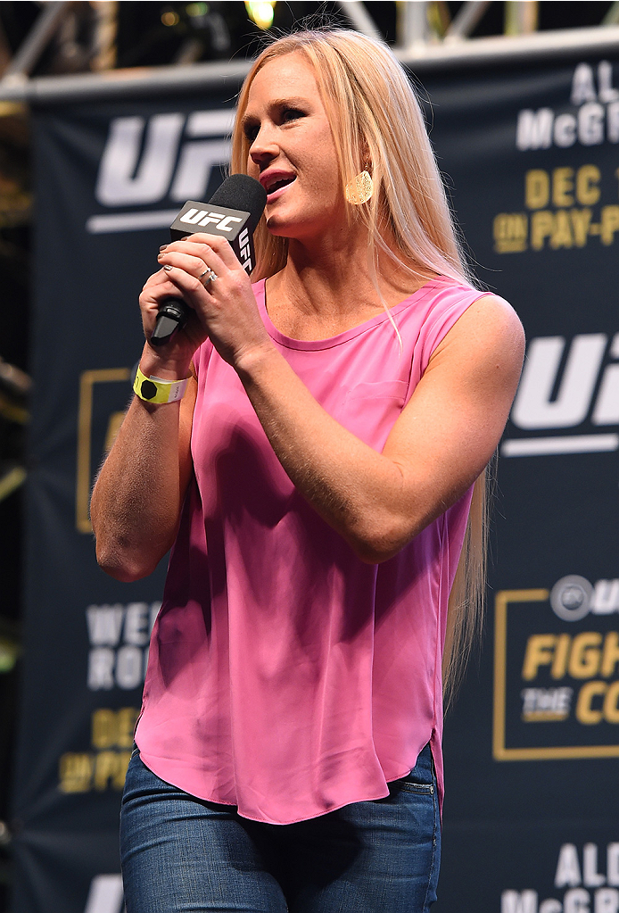 LAS VEGAS, NV - DECEMBER 11:   UFC women's bantamweight champion Holly Holm interacts with fans during a Q&A session before the UFC 194 weigh-in inside MGM Grand Garden Arena on December 10, 2015 in Las Vegas, Nevada.  (Photo by Josh Hedges/Zuffa LLC/Zuffa LLC via Getty Images)