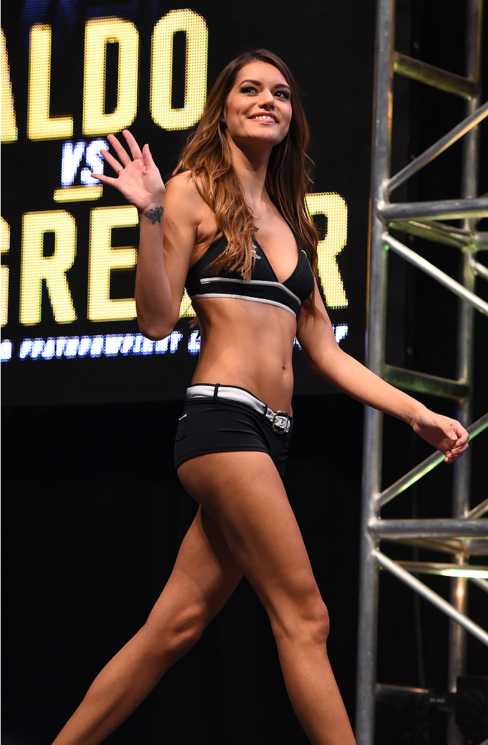 LAS VEGAS, NV - DECEMBER 11:   UFC Octagon Girl Vanessa Hanson stands on stage during the UFC 194 weigh-in inside MGM Grand Garden Arena on December 10, 2015 in Las Vegas, Nevada.  (Photo by Josh Hedges/Zuffa LLC/Zuffa LLC via Getty Images)