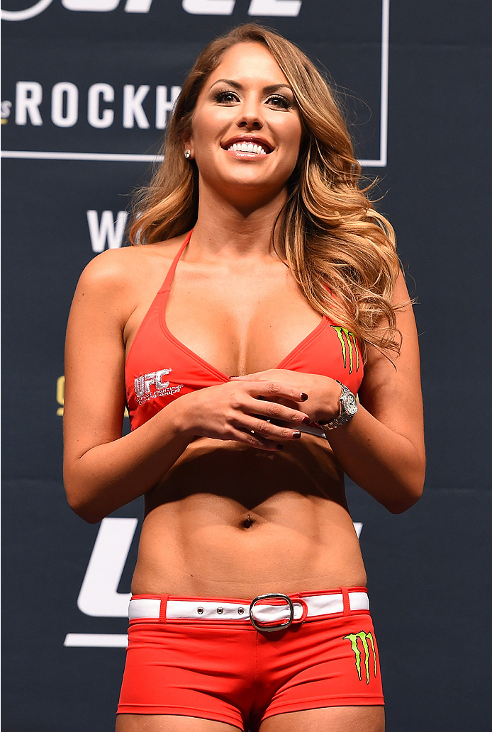 LAS VEGAS, NV - DECEMBER 11:   UFC Octagon Girl Brittney Palmer stands on stage during the UFC 194 weigh-in inside MGM Grand Garden Arena on December 10, 2015 in Las Vegas, Nevada.  (Photo by Josh Hedges/Zuffa LLC/Zuffa LLC via Getty Images)