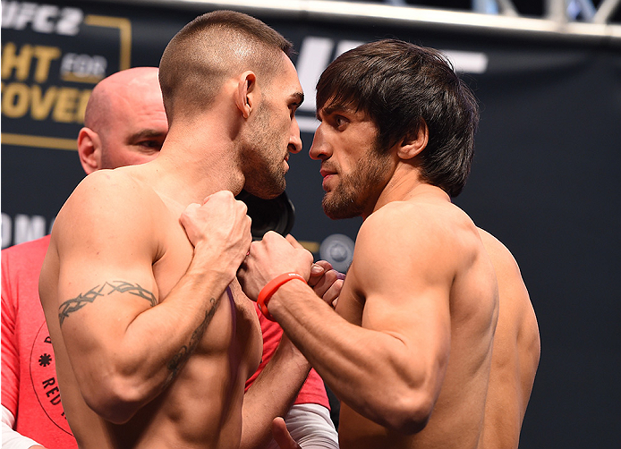 LAS VEGAS, NV - DECEMBER 11:   (L-R) Opponents Joe Proctor and Magomed Mustafaev of Russia face off during the UFC 194 weigh-in inside MGM Grand Garden Arena on December 10, 2015 in Las Vegas, Nevada.  (Photo by Josh Hedges/Zuffa LLC/Zuffa LLC via Getty Images)