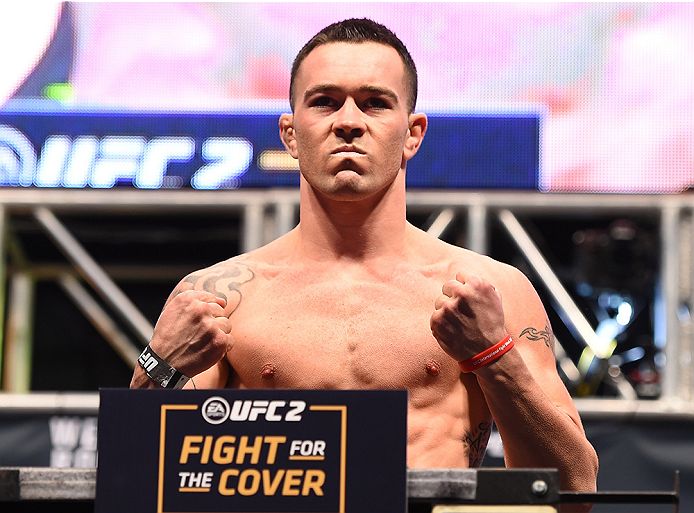 LAS VEGAS, NV - DECEMBER 11:   Colby Covington of Brazil weighs in during the UFC 194 weigh-in inside MGM Grand Garden Arena on December 10, 2015 in Las Vegas, Nevada.  (Photo by Josh Hedges/Zuffa LLC/Zuffa LLC via Getty Images)