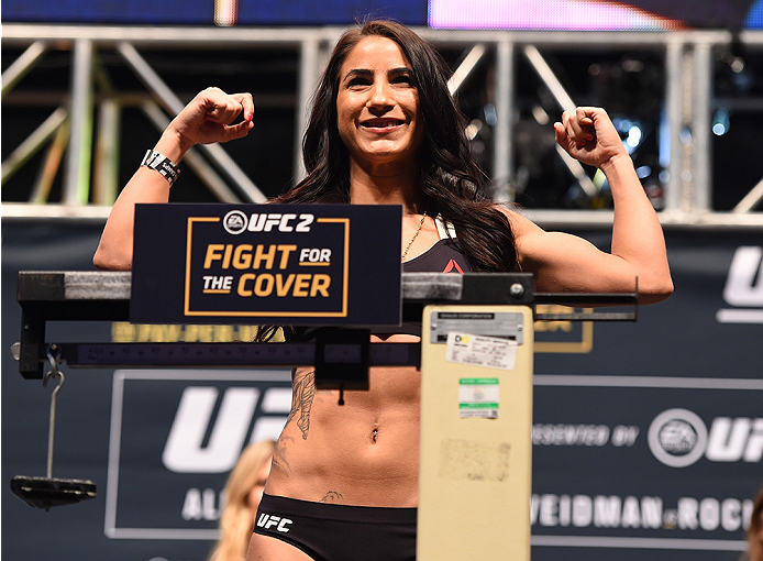 Tecia Torres weighs in during the UFC 194 weigh-in inside MGM Grand Garden Arena on December 10, 2015 in Las Vegas, Nevada. (Photo by Josh Hedges/Zuffa LLC)