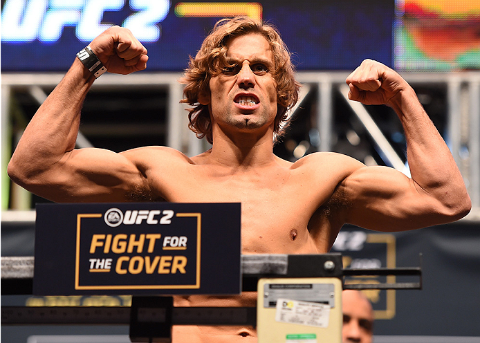 Urijah Faber weighs in during the UFC 194 weigh-in inside MGM Grand Garden Arena on December 10, 2015 in Las Vegas, Nevada. (Photo by Josh Hedges/Zuffa LLC)