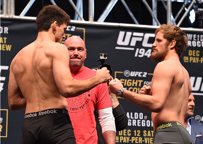 LAS VEGAS, NV - DECEMBER 11:   (L-R) Opponents Demian Maia of Brazil and Gunnar Nelson of Iceland face off during the UFC 194 weigh-in inside MGM Grand Garden Arena on December 10, 2015 in Las Vegas, Nevada.  (Photo by Josh Hedges/Zuffa LLC/Zuffa LLC via Getty Images)