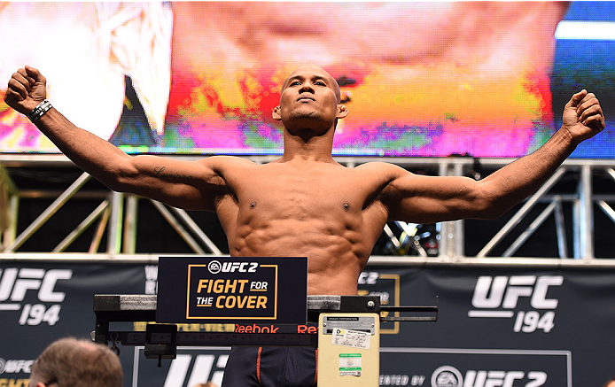 LAS VEGAS, NV - DECEMBER 11:   Ronaldo 'Jacare' Souza of Brazil weighs in during the UFC 194 weigh-in inside MGM Grand Garden Arena on December 10, 2015 in Las Vegas, Nevada.  (Photo by Josh Hedges/Zuffa LLC/Zuffa LLC via Getty Images)