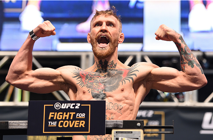 LAS VEGAS, NV - DECEMBER 11:   UFC interim featherweight champion Conor McGregor of Ireland weighs in during the UFC 194 weigh-in inside MGM Grand Garden Arena on December 10, 2015 in Las Vegas, Nevada.  (Photo by \{snum}\/Zuffa LLC/Zuffa LLC via Getty Images)