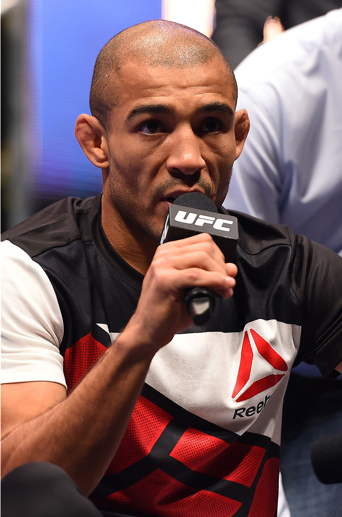 LAS VEGAS, NV - DECEMBER 10:   Jose Aldo of Brazil answers questions from the media during the UFC 194 open workouts inside MGM Grand Garden Arena on December 10, 2015 in Las Vegas, Nevada.  (Photo by Josh Hedges/Zuffa LLC/Zuffa LLC via Getty Images)