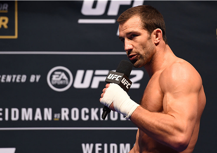 LAS VEGAS, NV - DECEMBER 10:   Luke Rockhold answers questions from the media during the UFC 194 open workouts inside MGM Grand Garden Arena on December 10, 2015 in Las Vegas, Nevada.  (Photo by Josh Hedges/Zuffa LLC/Zuffa LLC via Getty Images)