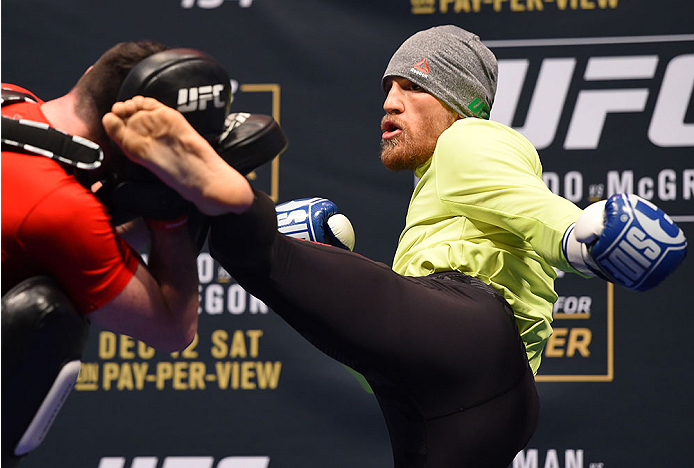 LAS VEGAS, NV - DECEMBER 10:   Conor McGregor of Ireland works out for fans and media during the UFC 194 open workouts inside MGM Grand Garden Arena on December 10, 2015 in Las Vegas, Nevada.  (Photo by Josh Hedges/Zuffa LLC/Zuffa LLC via Getty Images)